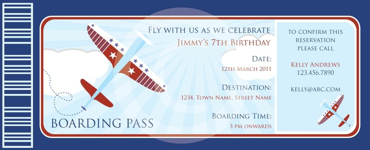 Birthday Invitation » Boarding Pass Birthday Invitation Template