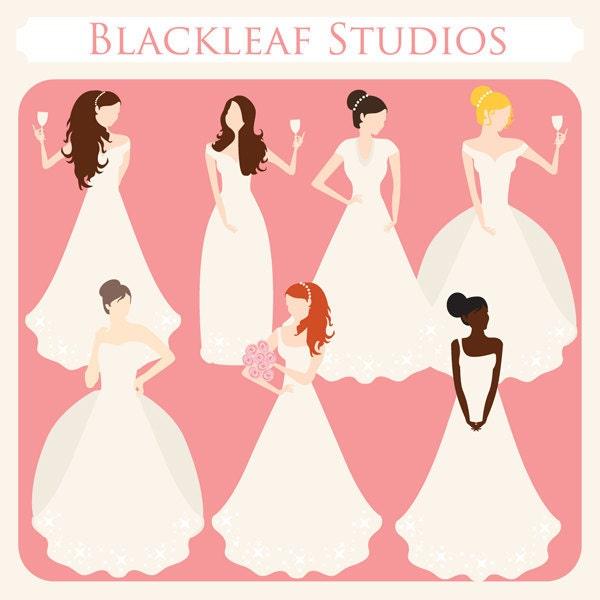 Peaches and Cream Brides Clip Art Instant Download wedding