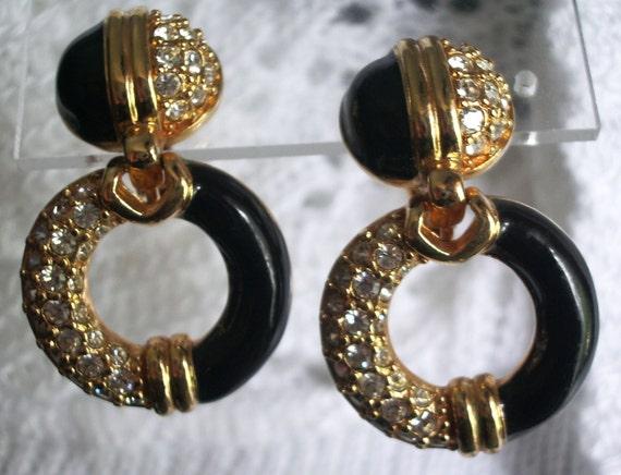 Swarovski Black Enamel and Pave Rhinestone Clip Earrings womens jewelry jewellery bridal prom