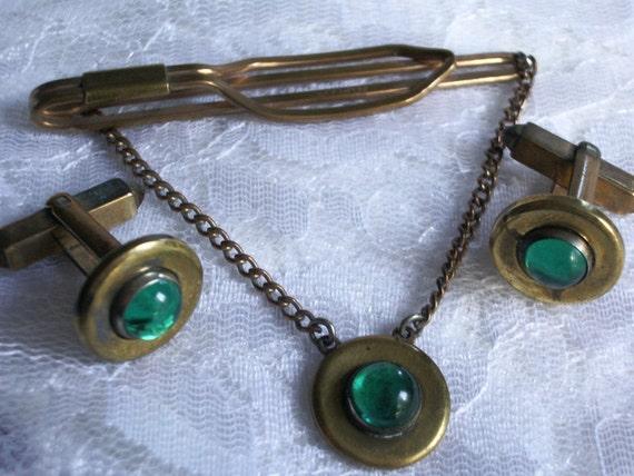 Vintage Art Deco Swank Green Translucent Cabochon Tie Bar Cufflinks mens jewelry jewellery