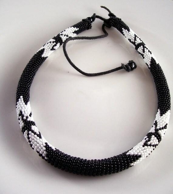 Artisan Bead Rope Black and White Necklace ethnic tribal leather beaded unisex