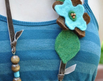 Necklace with Felted Wool Flowers