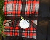 Scarlet and Gray Plaid Flannel and Black Minky Stroller Blanket for Infant or Toddler