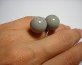 Gray Ball Sterling Ring