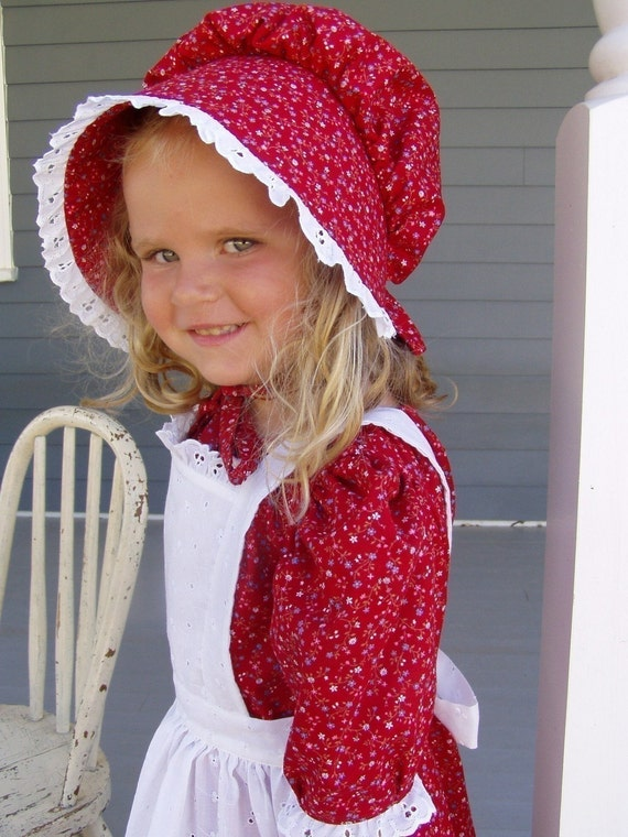 New Girls Pioneer Prairie Dress Costume Red Calico Choose Your Size