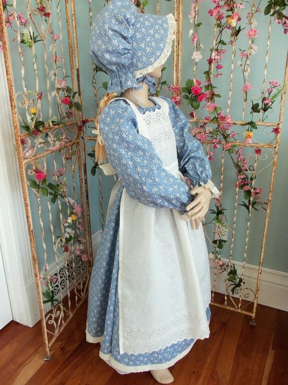 New Girls Pioneer Prairie Dress Costume Blue 3 Piece Set