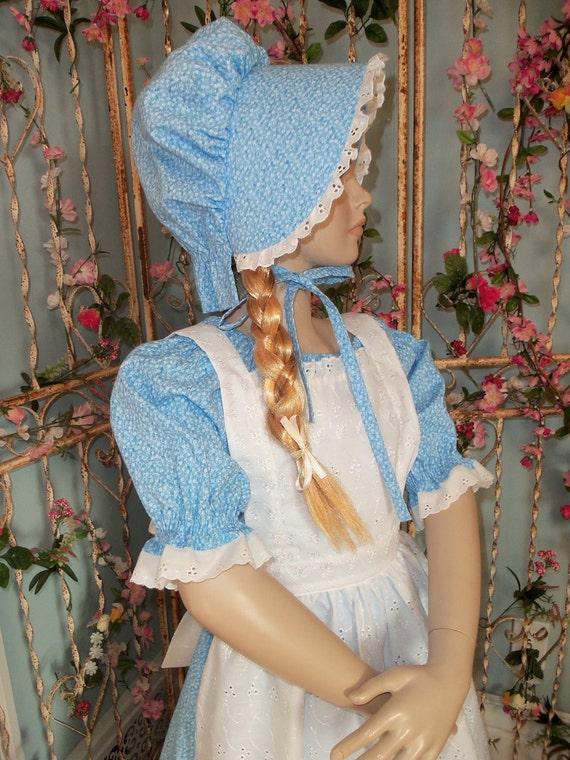 New Girls Pioneer Prairie Dress Costume Girls Sizes 3 Piece set