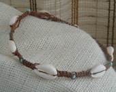 SALE 30PERCENT OFF Cowrie Shells, Brown Hemp Necklace