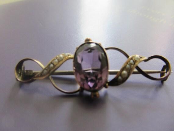 Vintage Victorian Amethyst & seed pearl 9ct bar brooch circa 1890-1900
