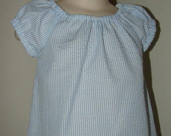 Seersucker Peasant Dress, Blue and White Stripe, Size 3t (LAST ONE)