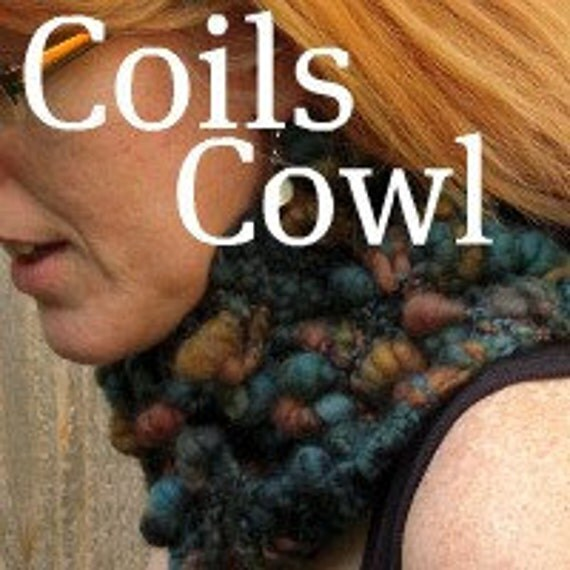 PDF Coils Cowl Pattern handspun art yarn knitting Digital Download SELL items knit from this