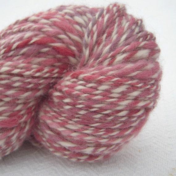 Handspun Alpaca Yarn bulky weight barberpole pink twist 188 yards
