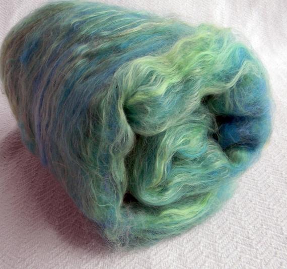 Sea Green Spinning Fiber Batts hand dyed mohair silk tencel superwash merino wool Art Batt Fibre