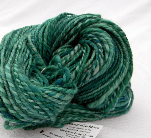 Blue Greens Handspun Alpaca Yarn two ply bulky Art Yarn
