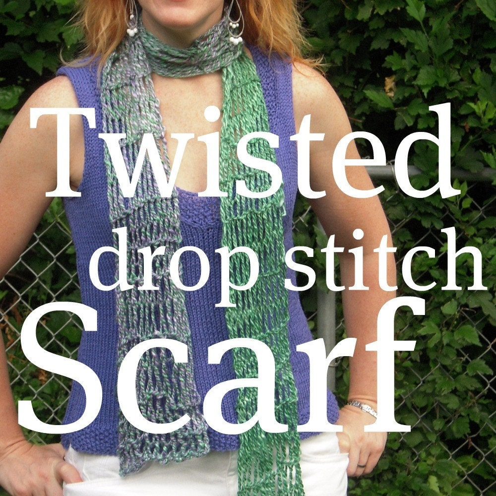 PDF Handspun Scarf Pattern Twisted Drop Stitch Knitting