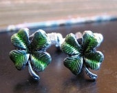 Irish Green Clover Enameled Cufflinks - 4 pairs available for the holidays