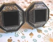 Black and Silver Octogon Shaped Retro/Vintage Style Cufflinks
