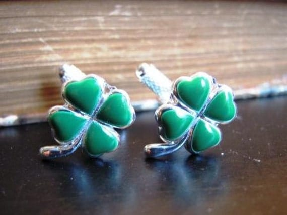 Classic Lucky Irish Green Clover Cufflinks -Only one pair left