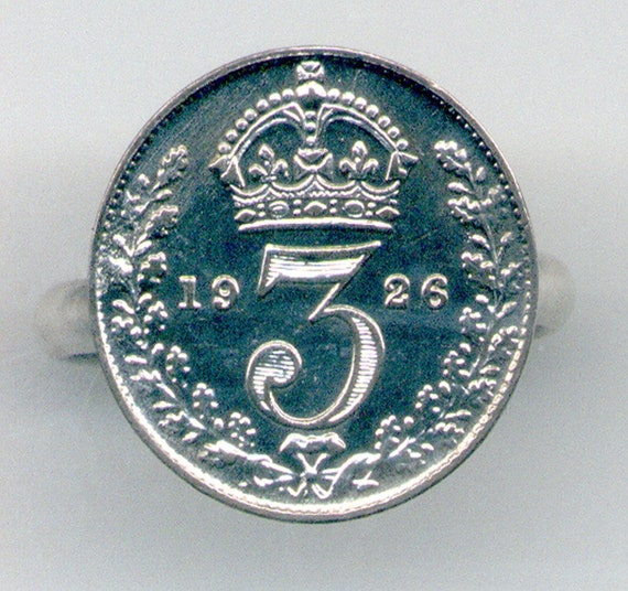 Coin Ring Silver 1926 Great Britain 3 Pence E-59