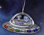 Space Alien Road Trip Paper Ornament
