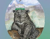 Long-winded Himalayan Bear and the Crown of Candles Paper Ornament