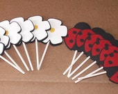 Ladybug Cupcake Toppers - cake decorations, party decorations, party supplies