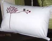Owl Pillow Cover Red and White Contemporary White Pillow Accent Pillow