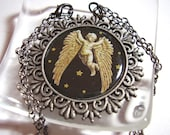Gothic Angel Necklace Antique Silver