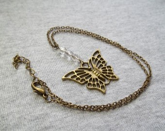 Butterfly Necklace Clear Crystals Bronze Antique Gold with Extender