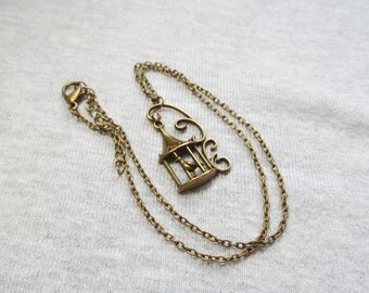 Bird Necklace, Birdcage Necklace, Bird Jewelry, Bird Jewellery