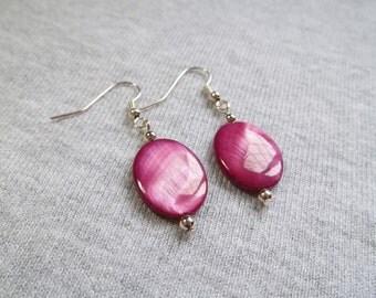 Shell Pearl Earrings, Pink Earrings, Purple Earrings, Silver Drop Earrings