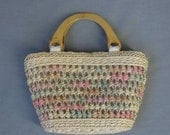 Vintage Tote Bag Pastel Raffia Purse Carry All Wood Handles