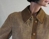 Reserved for Lindarn1 60s Mod Corduroy Swing Coat Vintage Suede Trim Spanish Cortefiel Medium