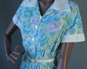 Vintage 60s Cotton House Day Dress Shirt Rose Floral Print Extra Large