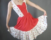 70s Sun Dress Vintage Summer Strawberry Print Novelty Ruffled Small