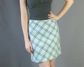 70s Plaid Mini Skirt Vintage A-line 1970s Diagonal Plaid White Aqua Medium