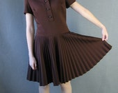 60s 70s Vintage MOD Drop Waist Dress Circle Pleat Skirt Medium