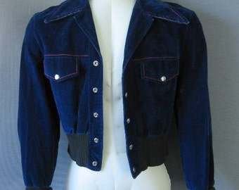 70s Mens Cropped Jacket Vintage Psychobilly Blue Suede-ette Small