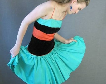 Vintage 80s Full Skirt Party Dress Orange Green Black 50s Small