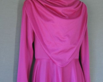 70s Vintage Long Maxi Dress Fuschia PINK Jersey Medium