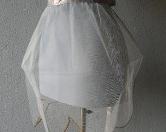 50s 60s Apron Vintage 1950s Sheer Net Baby Blue Whimsy Gold Trim