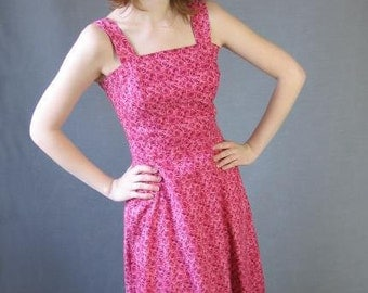 70s 80s Sun Dress Vintage Pink Roses Print Summer Small