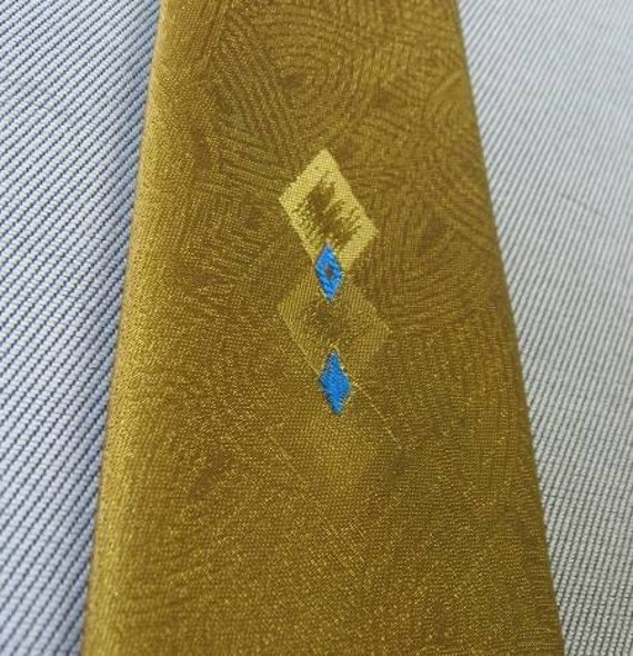 70s Vintage Gold Bronze Neck Tie Electric Turquoise Accent