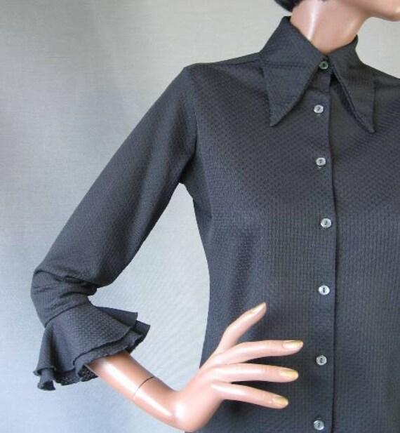 70s Blouse Vintage Semisheer Top Ruffled Sleeve Black Details Medium