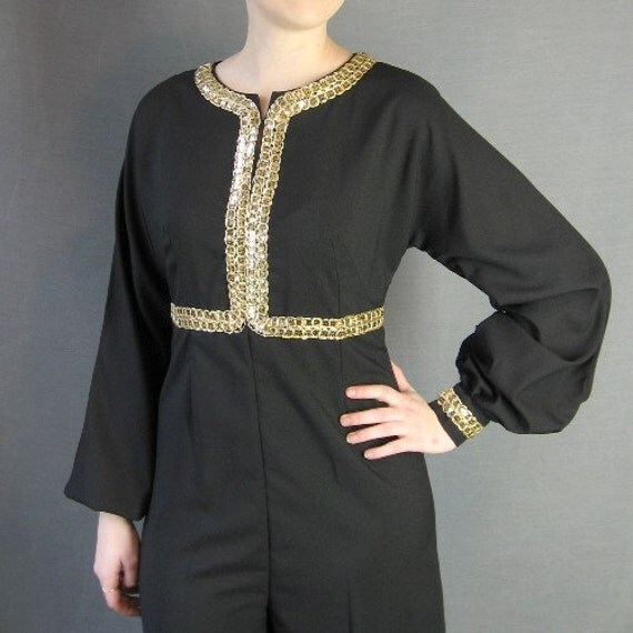 60s Jump Suit Vintage 1960s Empire Waist Palazzo Gold Trim Medium Disco