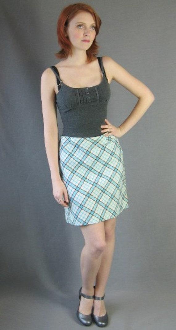 70s Plaid Mini Skirt Vintage A-line 1970s Diagonal Plaid White Aqua Medium