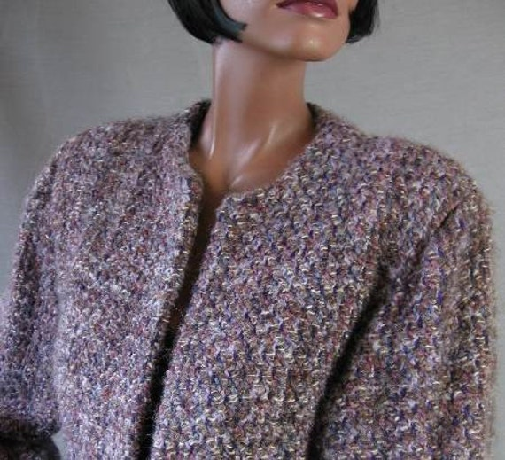Vintage Mohair Jacket PURPLE Tweed Artisan Boutique Coat 80s Medium Large