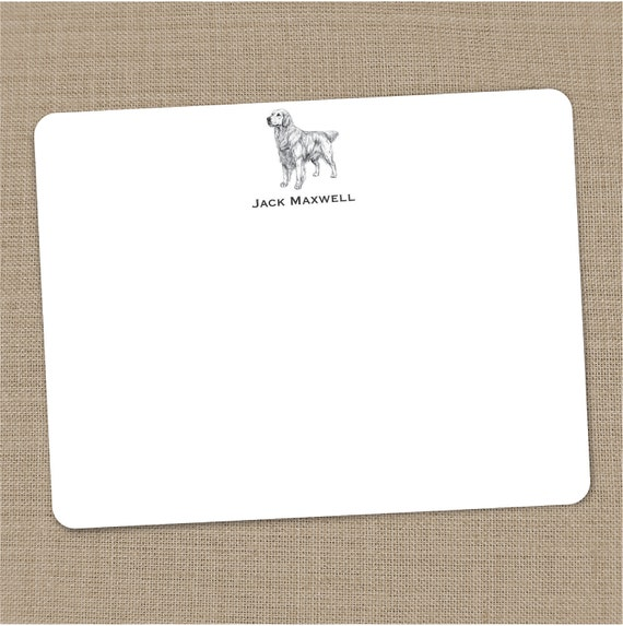 Personalized Golden Retriever Flat Notecards