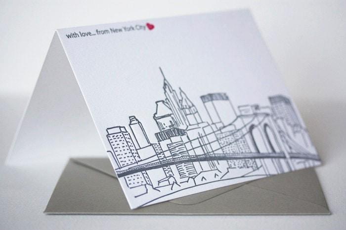 york city skyline letterpress greeting card – New York Birthday Card