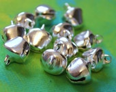 24 Lg Silver Gypsy Bells - large 10mm Brass Jingle Bells